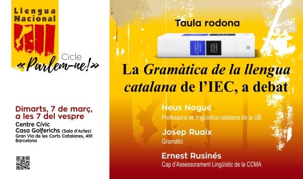 Taula rodona La Gramàtica de la llengua catalana de l'IEC, a debat